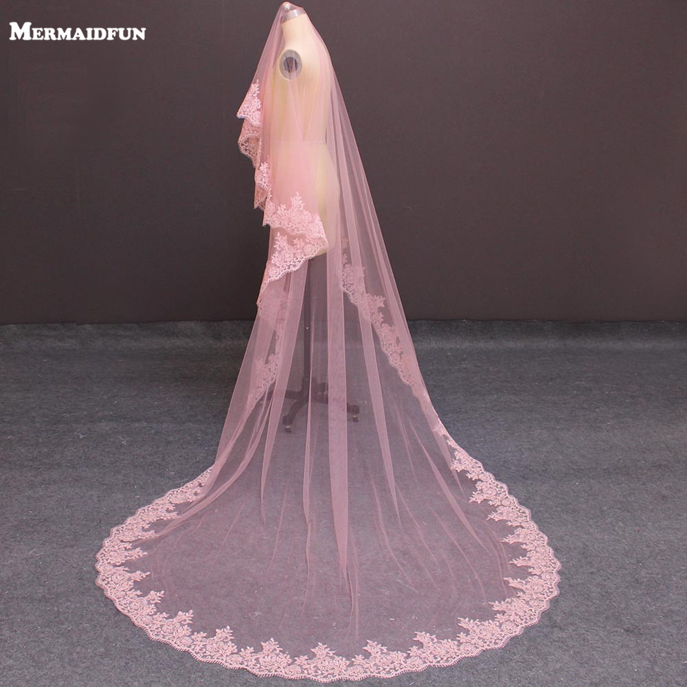 2018 Real Images One Layer Lace Edge Cover Face Pink Tulle Wedding Veil WITHOUT Comb Long