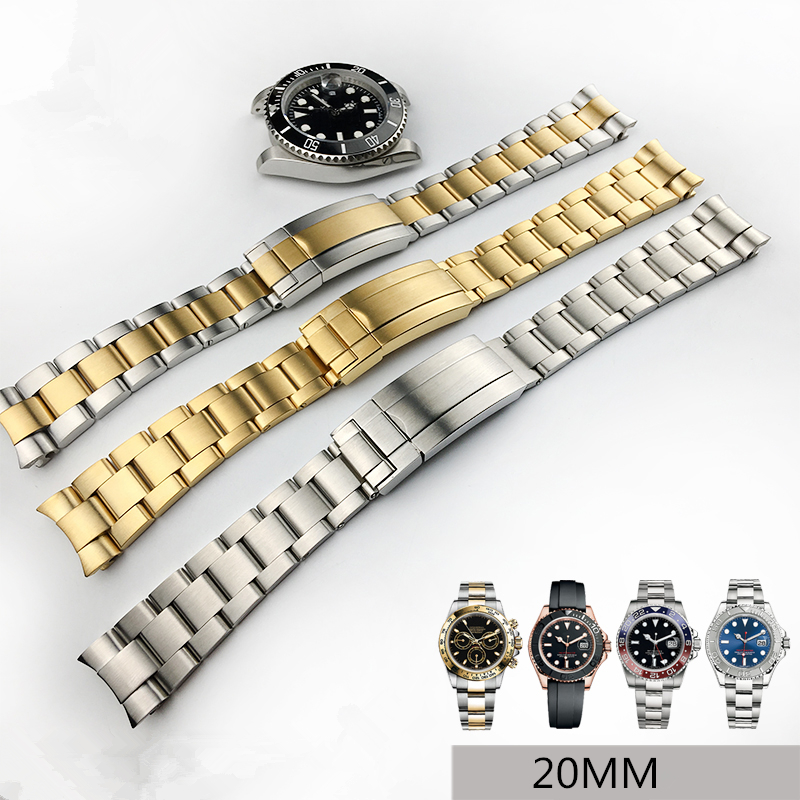 TJP 316L 20mm Silver Gold Stainless steel Watch Bands Strap For Daytona Submarine ROLE Sub-mariner Wristband Bracelet With Crown tjp handmade 20mm 22mm 24mm retro vintage brown black python skin leather strap bracelet for pam sub mariner pilot watch bands