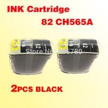 2 шт. 82 черных чернильных картриджа, совместимы с 82 CH565A for500 for500PS 800, совместимы с for82