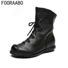 FOORAABO 2019 Genuine Leather Women Boots Vintage Flat Winter Spring Ankle Boots Soft Cowhide Bootie Women's Shoes(China)
