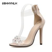 GBHHYNLH Bohemian Women Sandals Crystal High Heels Sandalias Rhinestone Transparent PVC Women Beige Pumps Zapato Mujer