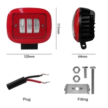 1pcs 30W Red Square work Light Spot Spotlight For Offroad Truck Tractor SUV Driving Lamp 4000lm Flux 6000K Red Round Work Light