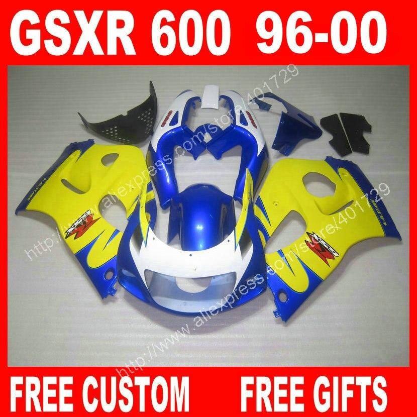 SRAD обтекатели для 1996 1997 1998 1999 2000 SUZUKI SRAD 96 99 желтый синий черный белый GSXR 600 GSXR750 обтекатель комплект WH53