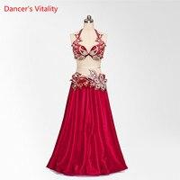 2018 Custom Made Stage Performance New Women luxury Bra+Belt+Skirt 3pcs Belly Dance Wear Tribal Dance Costume Set