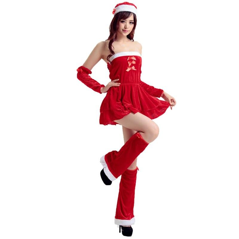 Women Cosplay Christmas Costume New Year Dance Sexy Short Red Dress Set  Adult Strapless Santa Claus Uniform Female Fancy Wear 937dd7990