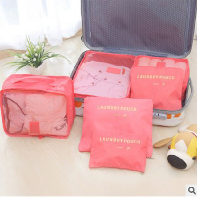 2f623fdb3e1b US $6.98 7% OFF|2018 Nylon Packing Cube Travel Bag Double zipper System  Durable 6 Pieces One Set Large Capacity Luggage Organize Bag b35-in Travel  ...