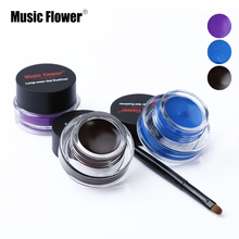 Music Flower Brand Black Waterproof Eyeliner Gel Makeup Cosmetic Gel Eye Liner With Brush 24 Hours