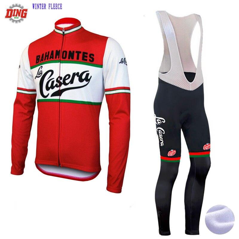 Spor ve Eğlence'ten Bisiklet Takımları'de YENI bisiklet jersey seti kırmızı La casera erkekler Uzun kollu bisiklet kıyafeti bib pantolon seti GELPad kış yün veya yün bisiklet giyim title=