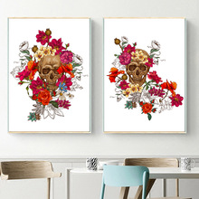 Skull Flower Wall Art Canvas Nordic Posters And Prints Canvas Painting Vintage Poster Wall Pictures For Living Room Home Decor wall art canvas painting 3d flower picture posters and prints golden flowers poster wall pictures for living room home decor