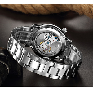 Image 5 - GEEKTHINK Fashion Top brand Skeleton Tourbillon automatic Watch Men Mechanical Skeleton Genuine Leather strap men self wind male