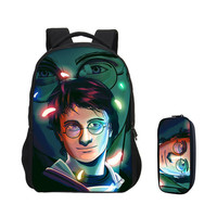 VEEVANV 2 PCS/SET Backpacks For Boys Girls Fashion Harry potter Printing Bookbag Leisure Laptop Bag Travel Backpacks Daypack