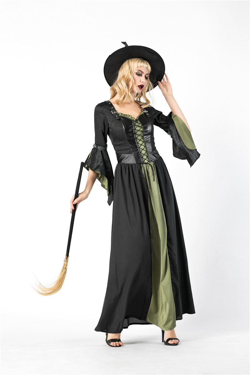2018 new witch costume halloween cosplay costumes green garment role