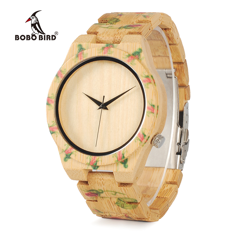 BOBO BIRD WD21 Wooden Watches with Flower Printed Bamboo Band for Men Women in Wood Box OEM bobo bird brand new wood sunglasses with wood box polarized for men and women beech wooden sun glasses cool oculos 2017