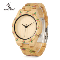 BOBO BIRD WD21 Wooden Watches With Flower Printed Bamboo Band For Men Women In Wood Box