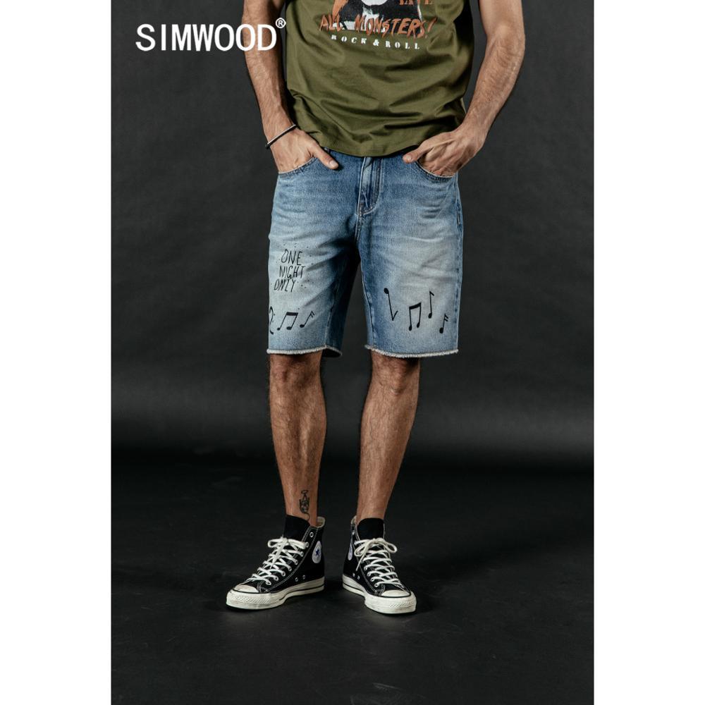 SIMWOOD 2020 Summer New Hip Hop Shorts Men Fashion Hip Hop Letter Print Musical Note 100% Cotton Denim Shorts