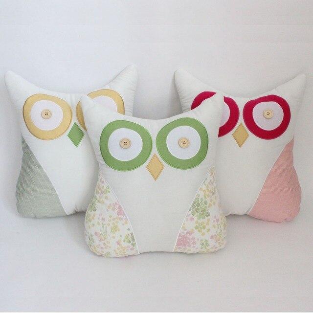 Envío gratis 3D diseño búho bordado cojín Patchwork patrón de la ...