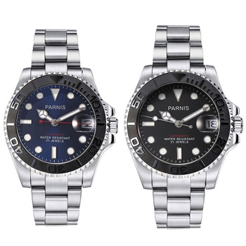 41mm Parnis Blue Black Dial Sapphire Glass Date window 21 jewels Miyota 8215 Automatic Movement men's Watch
