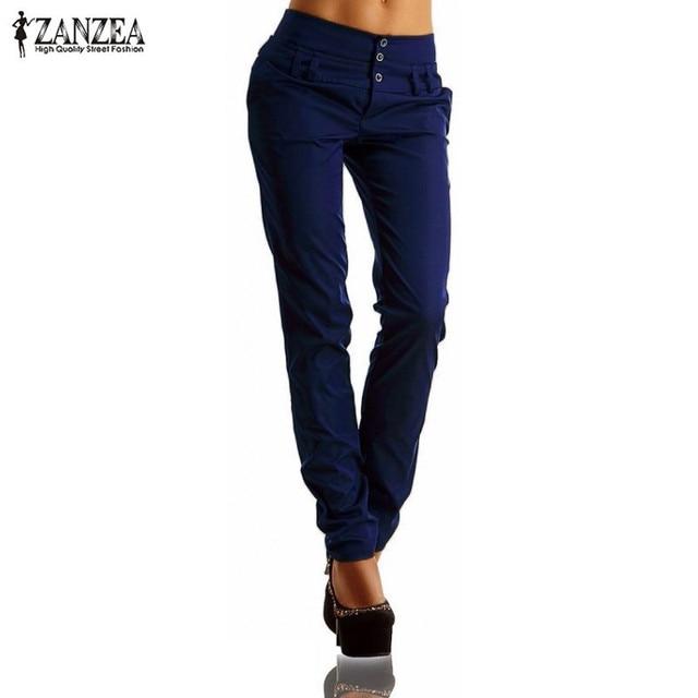 New Arrival ZANZEA Women Pants 2016 Autumn High Waist Buttons Zipper Solid Long Trousers Casual Slim Pants Capris Plus Size