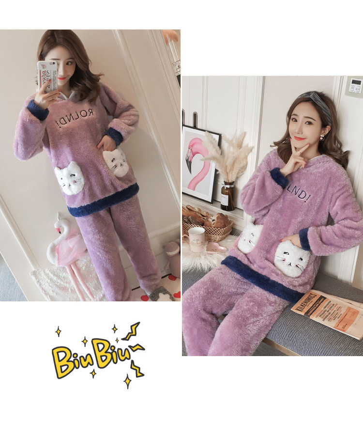 Winter Women Pajama Flannel Sleepwear Long Sleeves Hot Pajamas For Women Velvet Pajama Women Soft Clothing 97