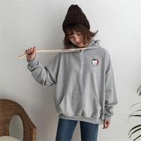 2018 Spring Korea Women's New Fashion long-sleeved big pocket pullover embroidery cartoon badge Harajuku hoodies Sweatshirt