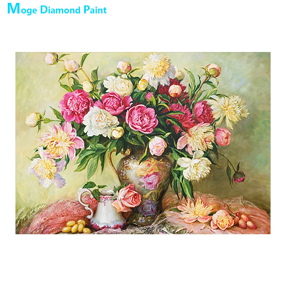 Rose floral Vase Moge Diamond Painting Full Round still life New DIY Sticking Drill Cross Embroidery 5D simple Home Decoration