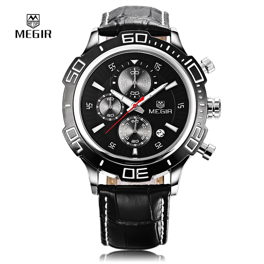 2017 New Sport Men Watch Top Brand Luxury Fashion Brand MEGIR Quartz Watches Waterproof Calendar Chronograph