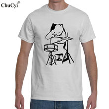 The Musician Cat Playing Drums Funny T Shirt Drummer Tee Shirt Homme Cat lover Cool T-shirt Mens Hip Hop Clothing(China)