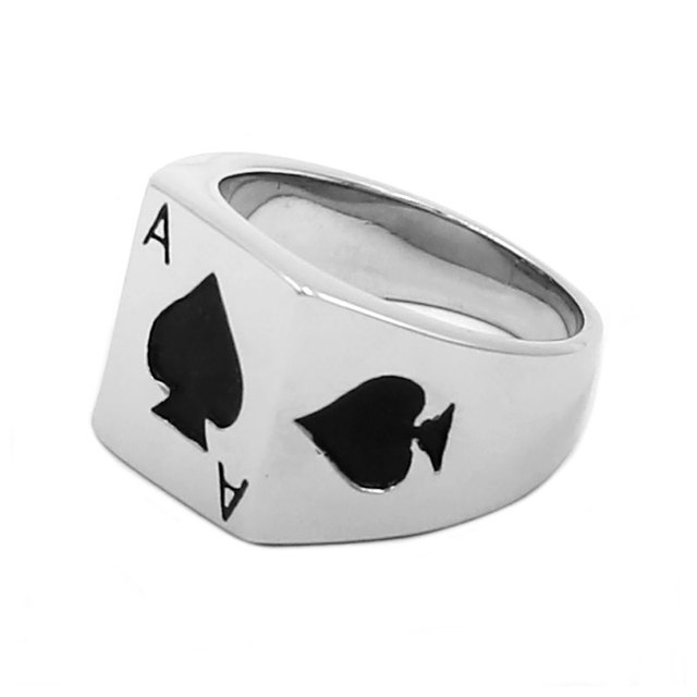 Men's Ace of Spades Printed Ring