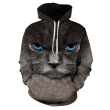2017 Cool hoodies men hip hop sweatshirt men novelty 3D print cat animal fashion brand plus size 3XL unisex tracksuit pullovers