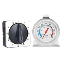 2pcs 60-minute Countdown Kitchen Baking Mechanical Oven Thermometer Wind-up Timer Set