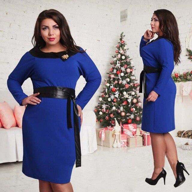 2017 New Designer Women Dress Plus Size Vestidos Maxi 6XL Knee Length Elegant Autumn Sashes O Neck Belt Oversized Party Dresses