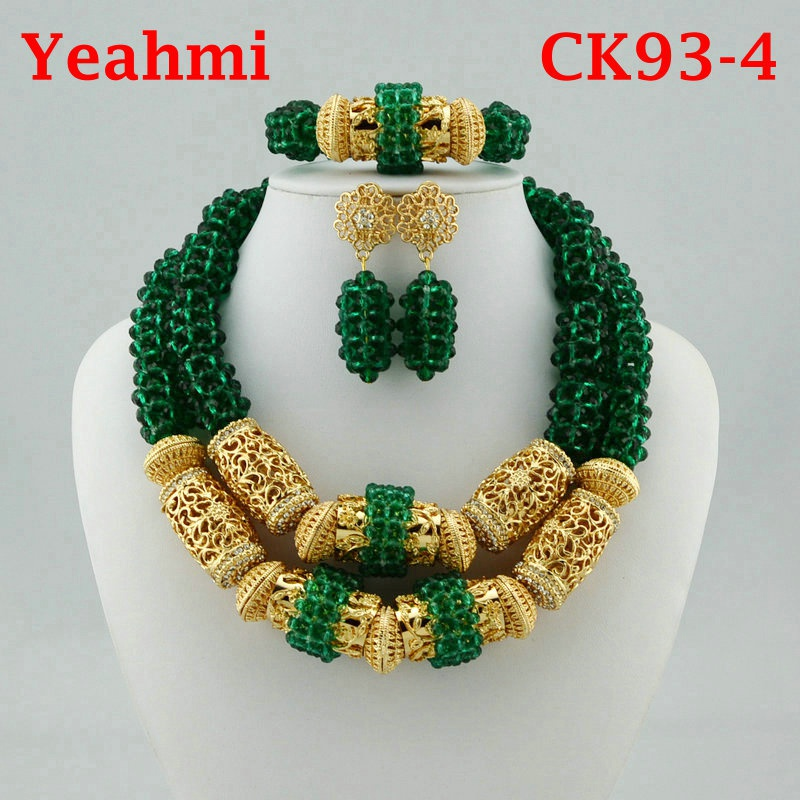 Hot New Bridal Jewelry Sets Red Nigerian Wedding African Beads Jewelry Set Crystal Fashion Gift Necklace Free Shipping CK93-3