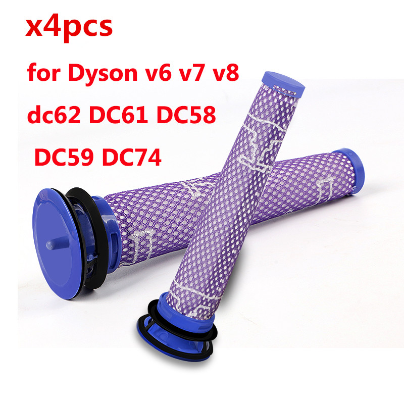 4 pcs Vacuum Cleaner Parts Pre Motor Washable HEPA Filter Motors Head for Dyson v6 v7 v8 dc62 DC61 DC58 DC59 DC74 # 965661-01 1pcs vacuum cleaner storage package for dyson v6 v7 v8 dc62 suction head storage bag