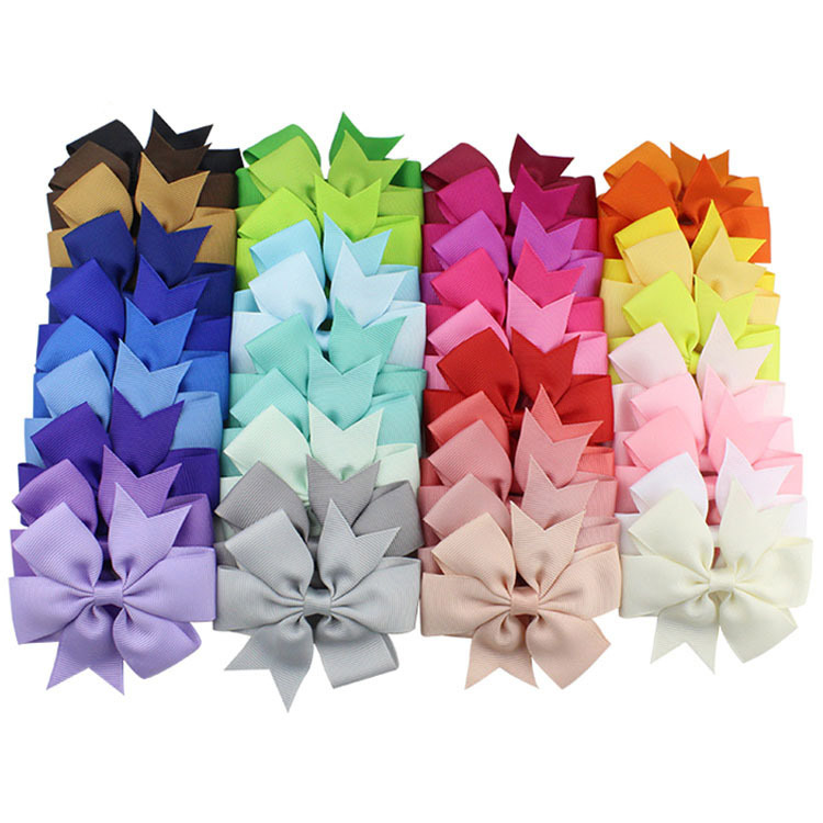 40 Colors Solid Grosgrain Ribbon Hairpin Girl's hair bows Boutique Hair Clip Headware