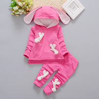 2017 Girls Hooded Tops Pants 2 Piece Infants And Young Children Spring Suit 1 3 Years