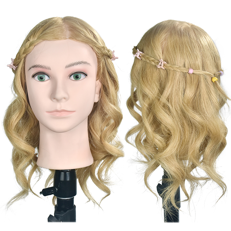 Female 16 Hairstyling Training Head Hairdresser Mannequin Model Natural Human Hair Styling Dolls With Clamp SaleFemale 16 Hairstyling Training Head Hairdresser Mannequin Model Natural Human Hair Styling Dolls With Clamp Sale