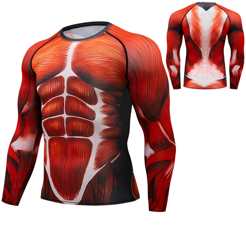 Muscle 2018 New Sport T-shirt Men Gym T Shirt 3D Print Running Joggers Long-Sleeve Compression Shirt Bodybuilding Fitness Tops round neck long sleeve 3d coins print sweatshirt