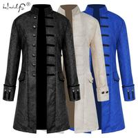 Fashion Men's Coat Steampunk Vintage Tailcoat Jacket Gothic Victorian Frock Coat Men's Uniform Costume Cosplay Suit