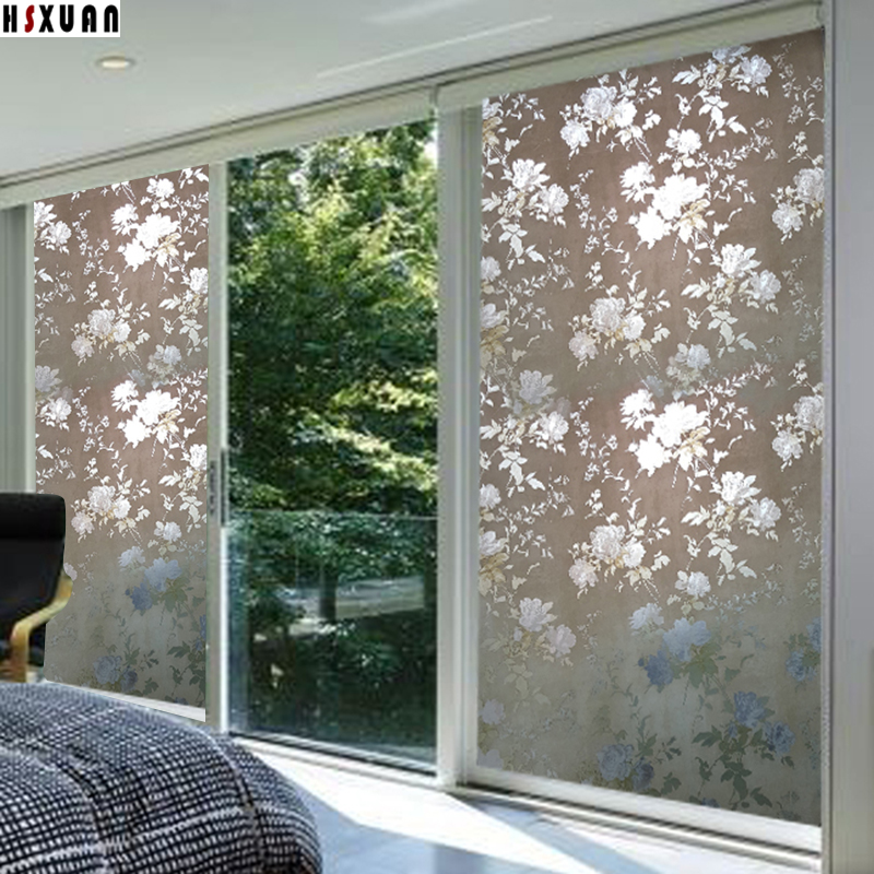 window privacy film sunscreen 80x100cm floral printed home decor removable  tint opaque sliding door glass static