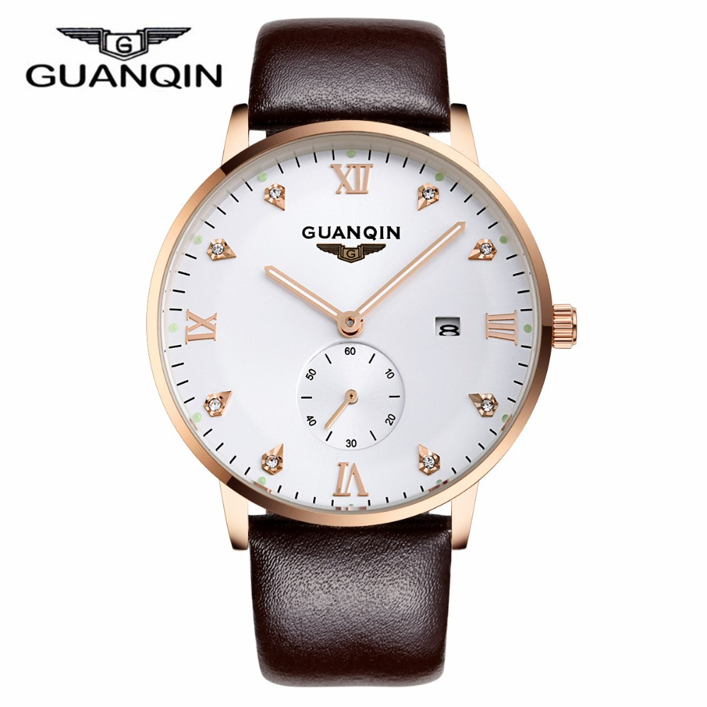 GUANQIN Top Men Watch Luxury Brand Leather Strap Analog Men s Quartz Date Clock Casual Sports