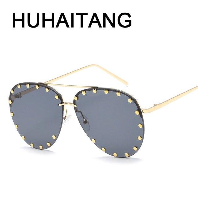 8bd4e84064 HUHAITANG Luxury Aviator Sunglasses Women Metal Rivets Men Pilot Sun Glasses  For Female 2018 High Quality