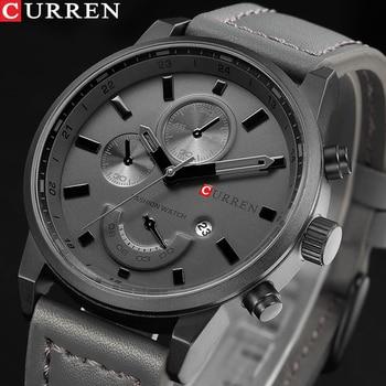 CURREN Men's Casual Sport Quartz Watch Mens Watches Top Brand Luxury Quartz-Watch Leather Military Wrist Male Clock Drop - discount item  44% OFF Men's Watches