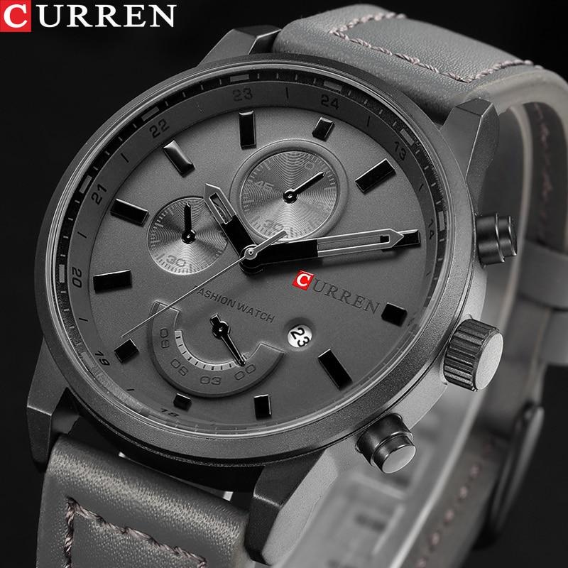 CURREN männer Casual Sport Quarzuhr Herren Uhren Top-marke Luxus Quarz-Uhr Leder Military Uhr Handgelenk Männlichen uhr Drop