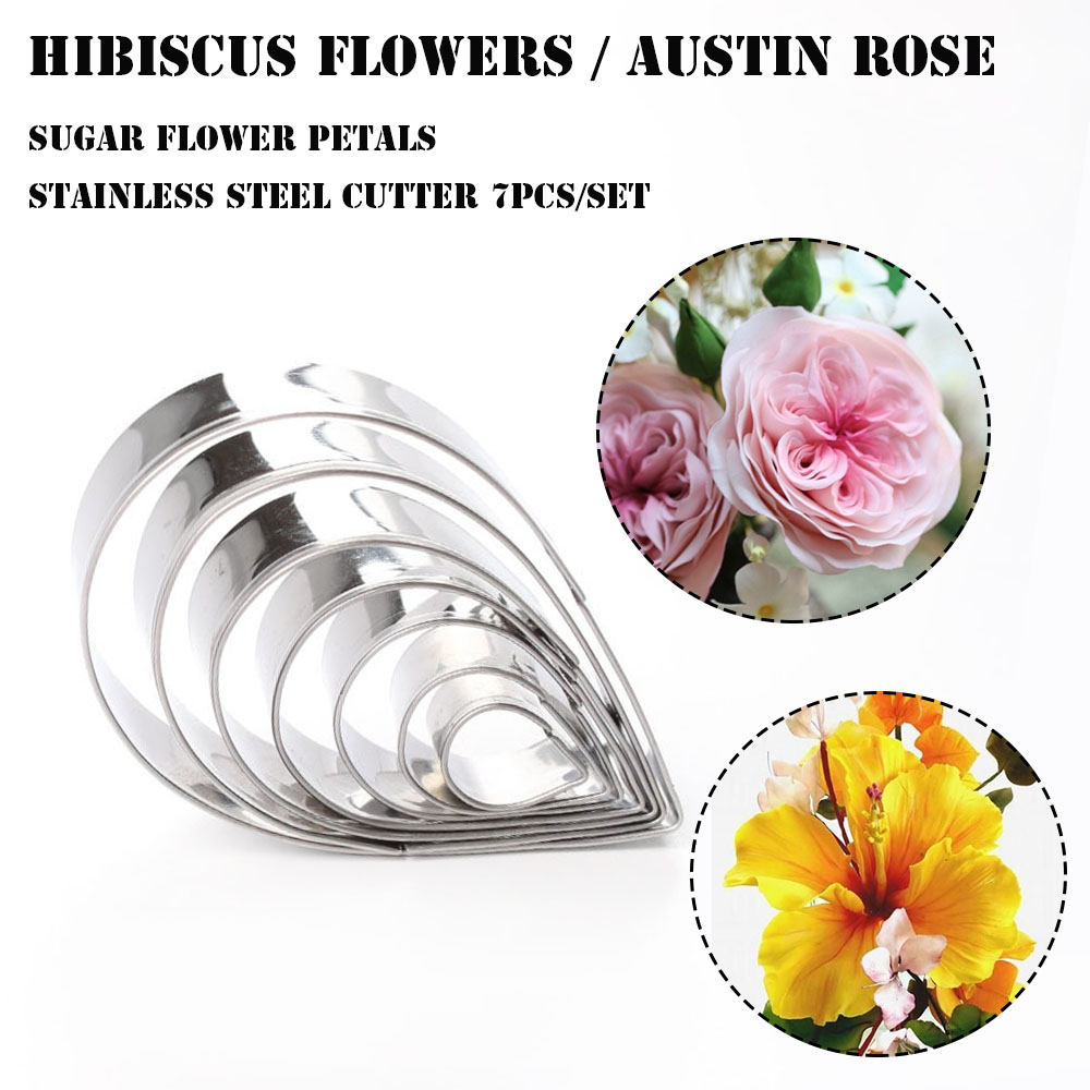 Austin rose hibiscus flower sugar flower petals stainless steel cutter set 7pcs in baking pastry tools from home garden on aliexpress austin rose hibiscus flower sugar flower petals stainless steel cutter set 7pcs in baking pastry tools from home garden o