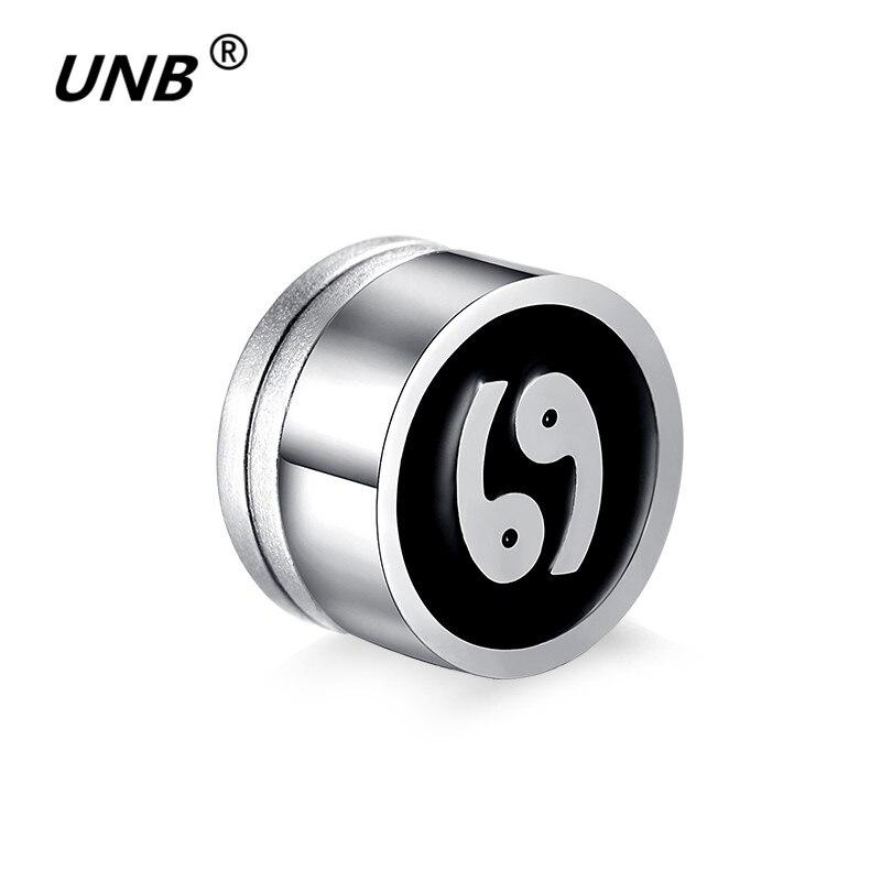 UNB Fashion 12 Constellation Earrings Magnet Magnetic Easy Ear Studs Enamel Black Pattern Earrings for Women/Men Dropshipping