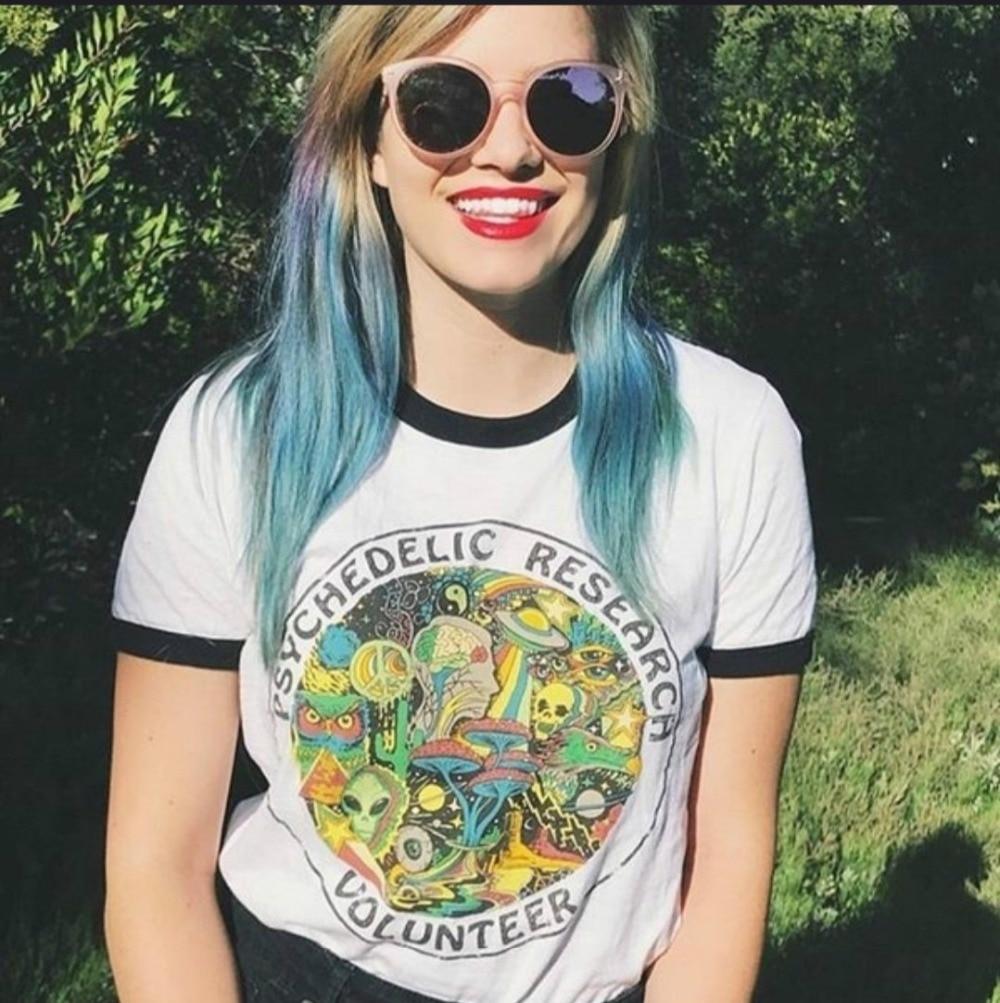 Hillbilly 2018 Short Sleeve Women Tshirt Psychedelic Research Volunteer Printed Vintage Shirt Harajuku Summer Top T shirt Women