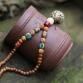 108 pcs of Sandalwood Buddha beads long necklace ,Nipal steel beads Rudraksha necklace,handmade Buddhism necklace