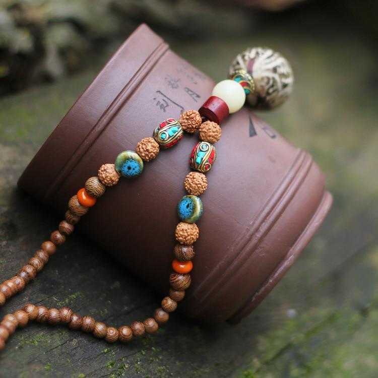 108 unids de la madera de sándalo de Buda largo collar Nipal granos de acero Rudraksha collar hecho a mano el budismo collar