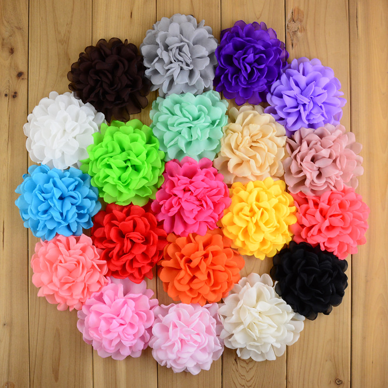 20C Hot Sale New girl Hair Flower 100pcs lot 3 94 inch Kid Chiffon Fire Burned