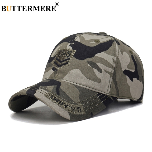 e49a530c8 Gorras de béisbol para hombre BUTTERMERE gorras con bordado camuflaje  verano al aire libre algodón ajustables del ejército 2019